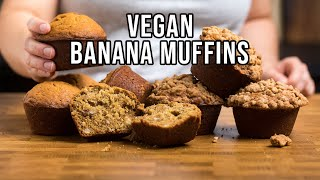 Easy Vegan Banana Muffins - 3 Ways To Make
