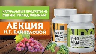 Натуральные продукты из серии «Гранд ФЕМИЛИ»: «ВеноРОЗ Тонус» и «Индовум» лекция Н.Г. Байкуловой