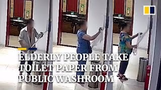 Elderly people help themselves to toilet paper at public washroom in China