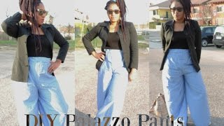 DIY HIGH WAIST PALAZZO PANTS || EASY SEWING