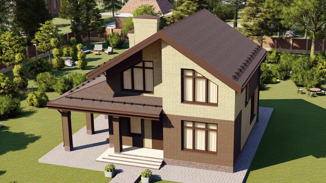 Дом из газобетона с мансардой 128 м2