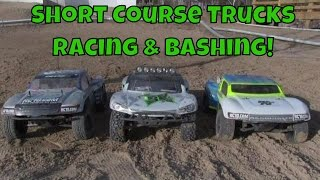 RC Short Course Trucks, Racing & Bashing At Track