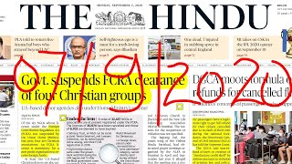 07 September 2020 The Hindu Newspaper Complete Analysis