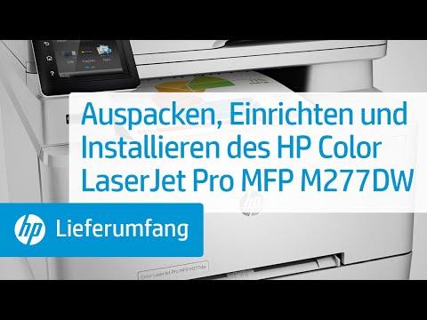 Auspacken, Einrichten und Installieren des HP Color LaserJet Pro MFP M277DW