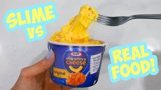 Making Mac N Cheese Slime with Balloons?! SLIME Food vs REAL Food!