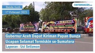 VIDEO: Karangan Bunga 'Selamat Provinsi Termiskin se-Sumatera' Hiasi Kantor Gubernur Aceh