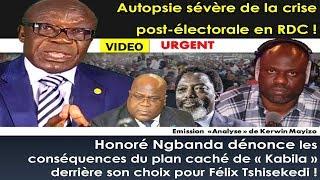 """H.Ngbanda Dénonce les Conséquences du Plan Caché de """"Kabila"""" Derrière Son Choix Pour F. Tshisekedi"""