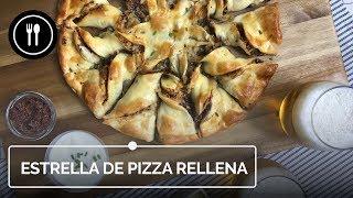 Estrella de pizza rellena de tapenade, champiñones y queso