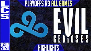 C9 vs EG Highlights ALL GAMES | LCS Spring 2020 Playoffs Round 3 |  Cloud9 vs Evil Geniuses