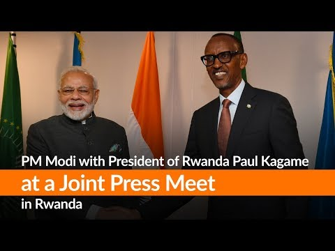 PM Modi with President of Rwanda Paul Kagame at a Joint Press Meet