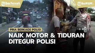 Viral Video Pria Berkaos Polisi Naik Motor Sambil Tiduran dan Tak Gunakan Helm, Ditegur Polisi Asli