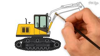 How To Draw Excavator and Dump Truck Learn Colors With Construction Vehicles For Kids Coloring Pages