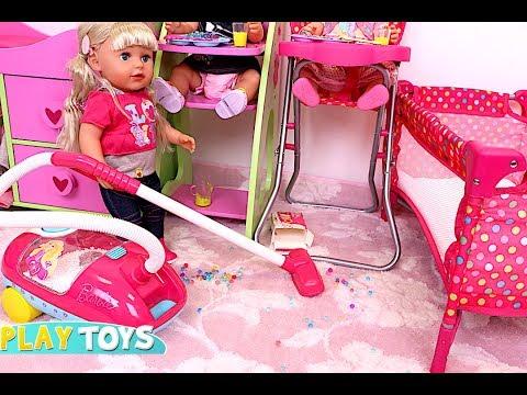 Baby Doll Washing Machine Laundry Toys in Dollhouse! 🎀