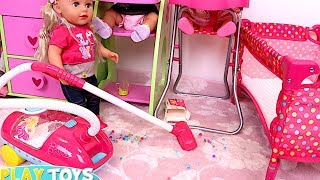 Download Youtube: Baby Doll Washing Machine Laundry toys - Baby Dolls messy feeding vacuum cleaner doll house toys