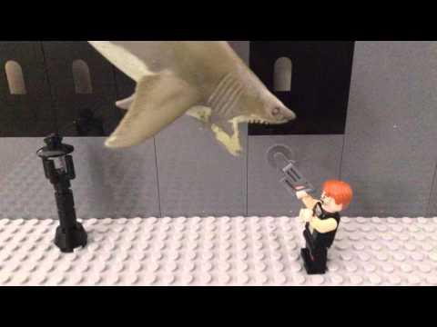 Lego Sharknado chainsaw scene