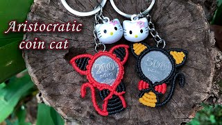 Macrame Keychain Tutorial - The Aristocratic Coin Cat Easily And Simple Pattern - Móc Khóa Con Mèo