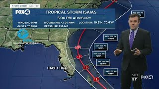 Tropical Storm Isaias exits the Dominican Republic