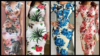 Designer Wear Fabulous Stunning And Elegant Stylish Floral Print Casual Bodycon Dress Design Ideas