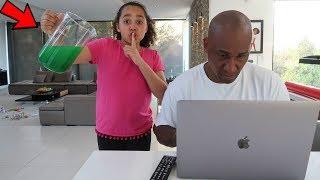 SLIME PRANK ON MY DAD!!
