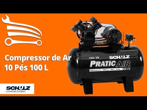 Compressor de Ar Pratic Air Mono 2HP 10 Pés 125 Libras  - Video