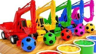 Apprendre les couleurs avec des Excavatrices, des camions et des Balles comptines pour enfants