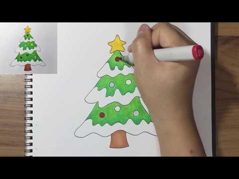 วาดรูปต้นคริสต์มาส, Drawing a Christmas Tree, Merry Christmas