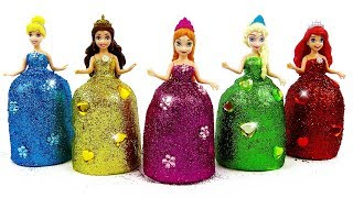 DIY How to Make Super Sparkle Dresses out of Play Doh for Disney Princesses