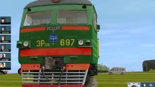 Катаемся на поезде-электричке ЭР9м697 на мое карте Trainz.