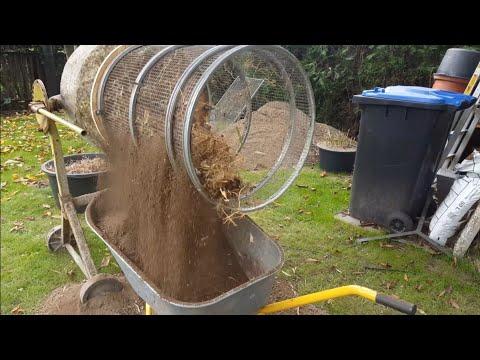 Kompost Siebtrommel selber gebaut am Betonmischer