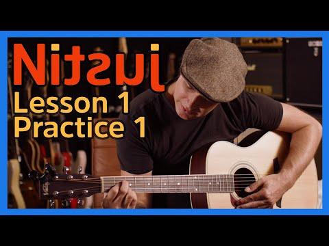Nitsuj Learning Guitar. Lesson 1 Practice 1 Justin Guitar Beginner Course 2020