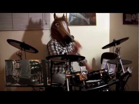 "Dethklok ""Thunderhorse"" drum cover, my most popular YouTube video, featuring blazing double-kick and a horse mask!"
