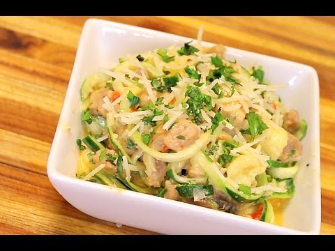 Video Cajun Alfredo Zoodles with Pork - keto recipe - healthy recipe channel -- zucchini noodles -low carb