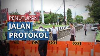 Situasi Hari Pertama Penutupan Lima Ruas Jalan Protokol di Semarang Selama Akhir Pekan