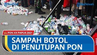 Penumpukan Sampah Botol Minuman di Pintu Masuk Stadion Lukas Enembe