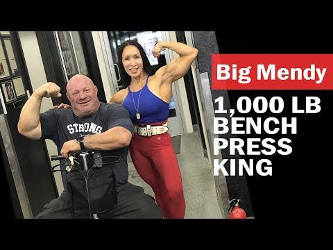 1,000 lb Bench Press King!  Denise Masino visits Big Mendy's Gym