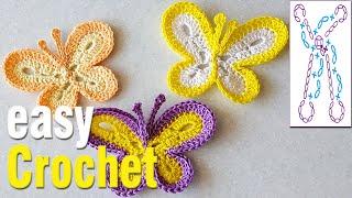 Crochet: How to Crochet a Butterfly. Free crochet butterfly motif pattern.