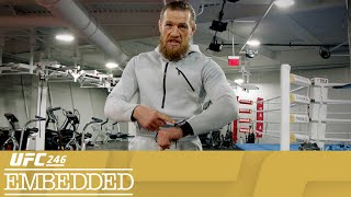 "On Episode 5 of UFC 246 Embedded, welterweight headliner Donald Cerrone recovers at the Performance Institute alongside flyweights Maycee Barber and Sabino Mazo and Hall of Famer Forrest Griffin. Strawweight Alexa Grasso prepares to fight one of her heroes, and Conor McGregor enjoys fight week as a welterweight. At Ultimate Media Day, Anthony ""Showtime"" Pettis and Diego Ferreira face off, as do Holly Holm and Raquel Pennington. UFC 246 Embedded is an all-access, behind-the-scenes video blog leading up to the return of Conor McGregor on Saturday, January 18th. Order the Pay-Per-View at ESPNPlus.com/PPV    Connect with UFC Online and on Social Website: http://www.ufc.com Follow UFC Twitter: http://www.twitter.com/ufc Facebook: http://www.facebook.com/ufc Instagram: http://www.instagram.com/ufc Snapchat: UFC Periscope: http://Periscope.tv/ufc Twitch: https://www.twitch.tv/ufc   Follow ""The Notorious"" Conor McGregor Twitter: http://www.twitter.com/TheNotoriousMMA Facebook: https://www.facebook.com/thenotoriousmma Instagram: http://www.instagram.com/TheNotoriousMMA   Follow Donald ""Cowboy"" Cerrone Twitter: https://twitter.com/Cowboycerrone Instagram: http://instagram.com/cowboycerrone Facebook: https://www.facebook.com/DonaldCowboyCerrone   Follow Holly ""The Preacher's Daughter"" Holm Twitter https://twitter.com/HollyHolm Facebook https://www.facebook.com/HollyHolmUFCBantamweightChampion/?fref=ts Instagram https://www.instagram.com/hollyholm/?hl=en    Follow Raquel ""Rocky"" Pennington Twitter https://twitter.com/RockyPMMA Instagram https://www.instagram.com/raquel_pennington Facebook https://www.facebook.com/Raquel-Rocky-Pennington-189720294409605    Follow Anthony ""Showtime"" Pettis Twitter https://twitter.com/Showtimepettis Facebook https://www.facebook.com/AnthonyShowtimePettis/?fref=ts Instagram https://www.instagram.com/showtimepettis/?hl=en   Follow Diego Ferreira Twitter https://twitter.com/DiegoUFCTX Facebook https://www.facebook.com/diegoufctx/ Instagram https://www.instagram.com/diegoufctx/    About UFC® UFC® is the world's premier mixed martial arts organization (MMA), with more than 318 million fans and 80 million social media followers. The organization produces more than 40 live events annually in some of the most prestigious arenas around the world, while broadcasting to nearly one billion TV households across more than 170 countries. UFC's athlete roster features the world's best MMA athletes representing more than 65 countries. The organization's digital offerings include UFC FIGHT PASS®, one of the world's leading streaming services for combat sports. UFC was acquired in 2016 by global entertainment, sports and content company Endeavor, along with strategic investors Silver Lake Partners and KKR. UFC is headquartered in Las Vegas, Nevada. For more information, visit UFC.com and follow UFC at Facebook.com/UFC, Twitter, Snapchat and Instagram: @UFC."