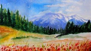 Смотреть онлайн Как нарисовать прекрасный горный пейзаж акварелью