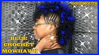 CURLY CROCHET MOWHAWK WITH BLUE HAIR / CROCHET MOWHAWK/ BRAIDED MOWHAWK