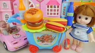 Hambuger car and baby doll kitchen cooking play baby Doli house