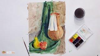 Смотреть онлайн Как научиться рисовать акварелью натюрморт новичкам