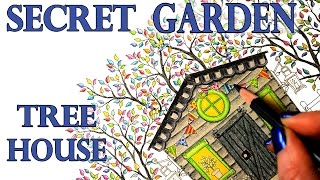 Secret Garden Tree House Coloring Book Tutorial