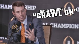 "Dabo Swinney talks about ""crawling on"" at Alabama"