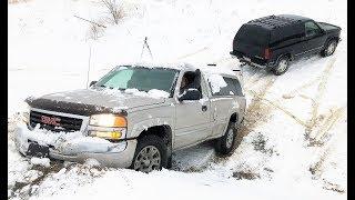 Blazer Saves a STUCK GMC! + $1,000 Truck TUG OF WAR... (Somebody Loses a Bumper LOL)