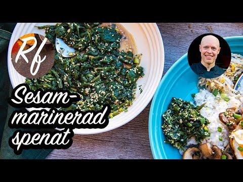 Sesammarinerad spenat är förvälld fräst spenat med salladslök och smaksatt med sesamolja, ljus soja och sesamfrön.>