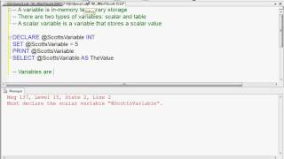 How to Declare and Initialize Variables in T-SQL - Part 1