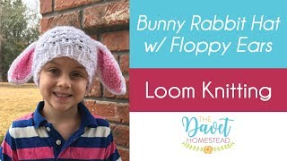 Loom Knit Bunny Hat with Long Ears