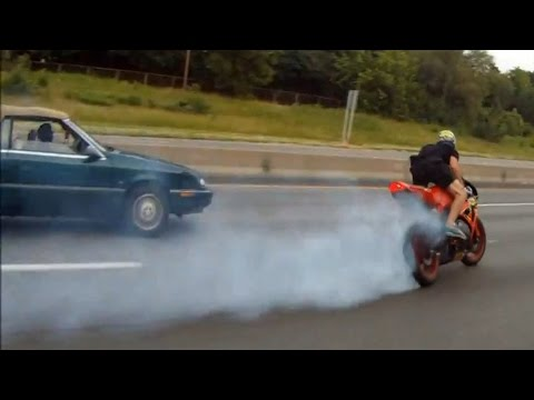 Motorcycle Drifting Accident On Highway in Honda CBR1000RR