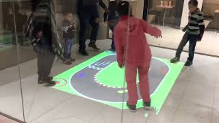 Interactive Floor set up using projectors in a fast food chain in Saudi Arabia