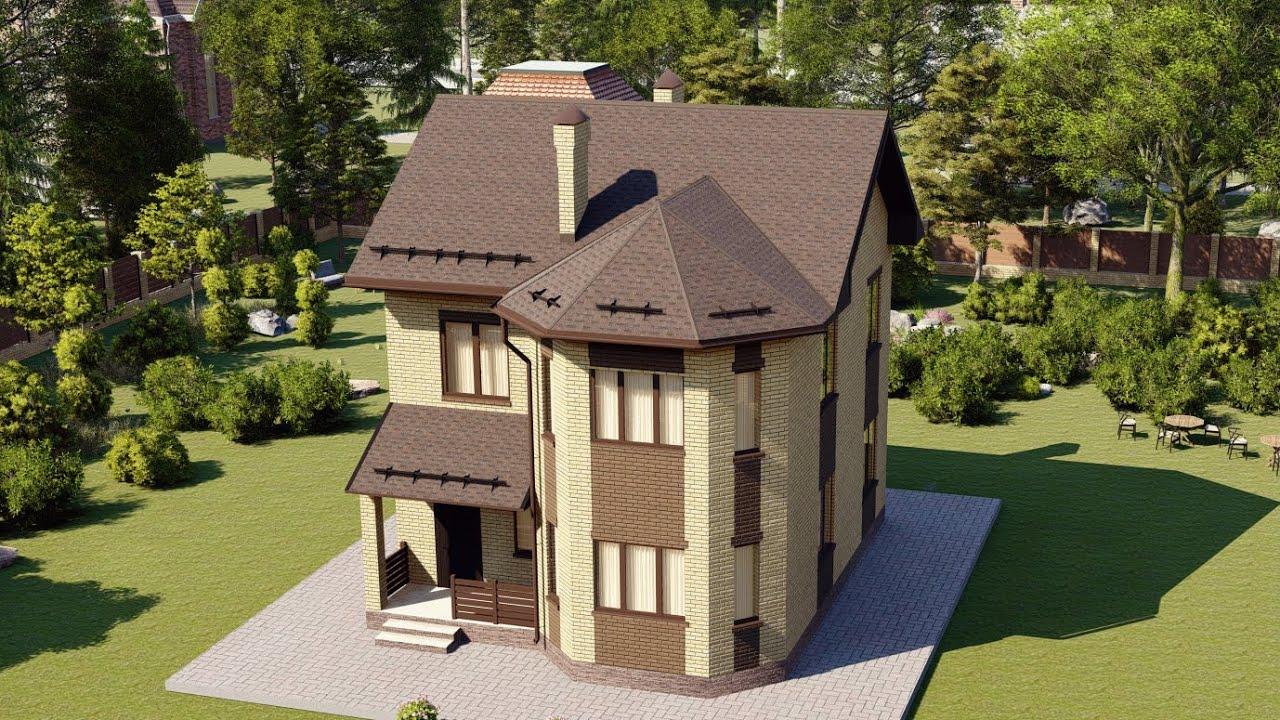 Проект двухэтажного дома с эркером для небольшой семьи 107 м2